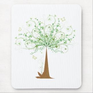 Mousepad Árvore e borboletas abstratas