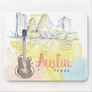 Mousepad Austin, esboço da aguarela de Texas