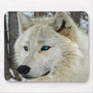 Mousepad Azul branco tapete do rato ártico Eyed do lobo da