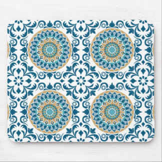 Mousepad Azul decorativo oriental, Brown & branco do