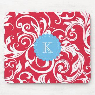 Mousepad Azul vermelho bonito do papel de parede floral do