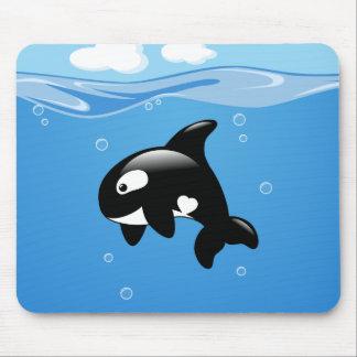 Mousepad Baleia pequena bonito da orca no oceano