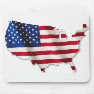 Mousepad Bandeira americana na forma dos Estados Unidos