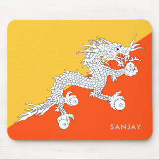 Mousepad Bandeira de Bhutan com seu nome