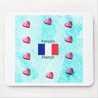 Mousepad Bandeira de France e design da língua francesa