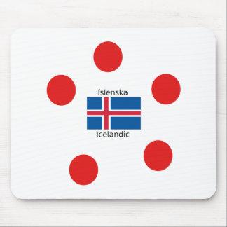 Mousepad Bandeira de Islândia e design islandês da língua