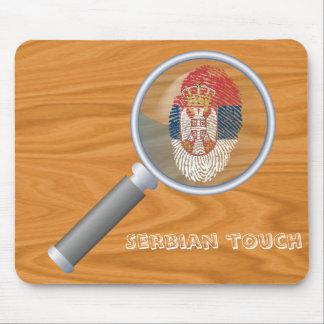 Mousepad Bandeira sérvio da impressão digital do toque