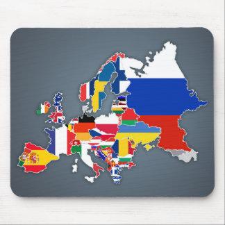 Mousepad Bandeiras de país européias do mapa |