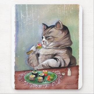 Mousepad Banquete do rico do gato do sushi
