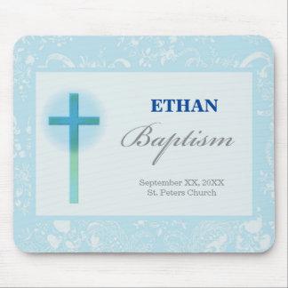 Mousepad Baptismo azul do menino do laço