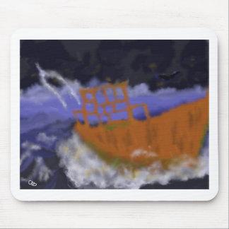 Mousepad Barco velho na arte da tempestade