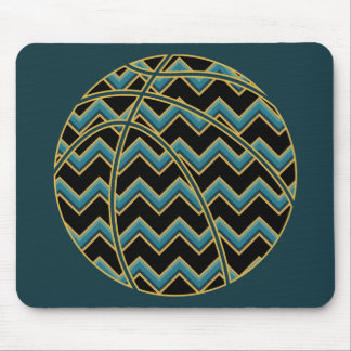 Mousepad Basquetebol de Chevron da cerceta e do ouro