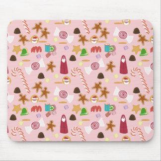 Mousepad Bastões e chocolates de doces no rosa