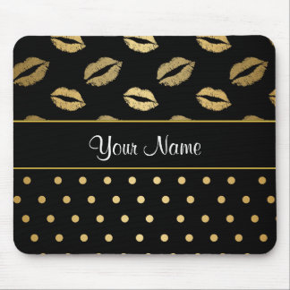 Mousepad Beijos do preto e do ouro e corações do amor