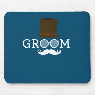 Mousepad Bigode & chapéu engraçados do noivo para o partido