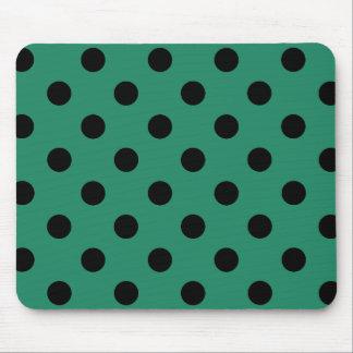 Mousepad Black polka dots in green