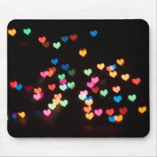 Mousepad Bokeh abstrato dá forma a corações bonitos do amor