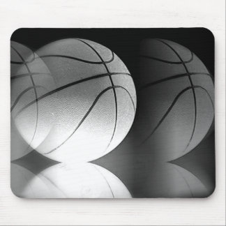 Mousepad Bola preta & branca do basquetebol do rolamento