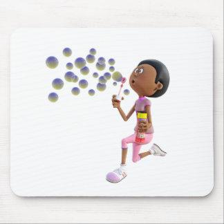Mousepad Bolhas de sopro da menina do afro-americano dos
