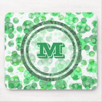 Mousepad Bolinhas manchadas monograma verde afligido