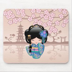 Mousepad Boneca de Keiko Kokeshi - menina de gueixa azul do