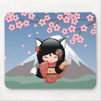 Mousepad Boneca de Kitsune Kokeshi - menina de gueixa do
