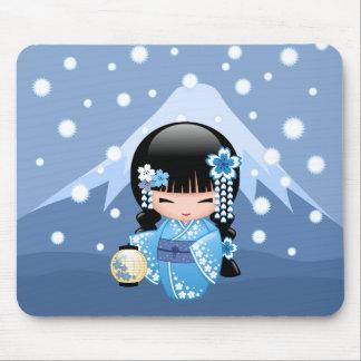 Mousepad Boneca de Kokeshi do inverno - menina de gueixa