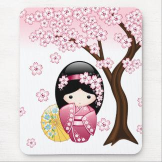 Mousepad Boneca de Kokeshi do primavera - menina de gueixa