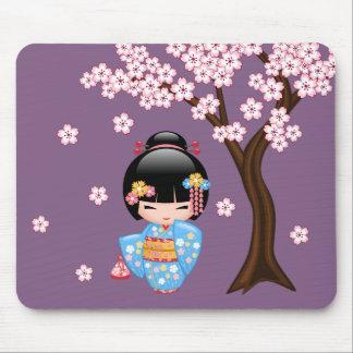 Mousepad Boneca de Maiko Kokeshi - menina de gueixa azul do