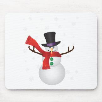 Mousepad Boneco de neve do Natal com ilustração dos flocos
