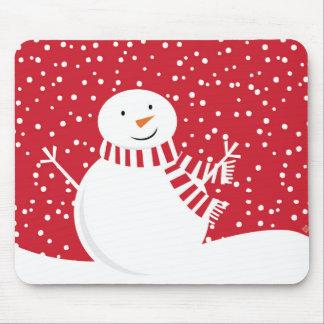 Mousepad boneco de neve vermelho e branco contemporâneo