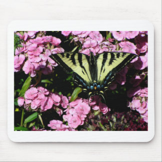 Mousepad Borboleta de Swallowtail em flores cor-de-rosa
