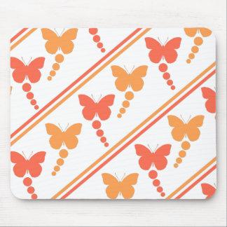 Mousepad Borboletas cor-de-rosa e alaranjadas, pontos,