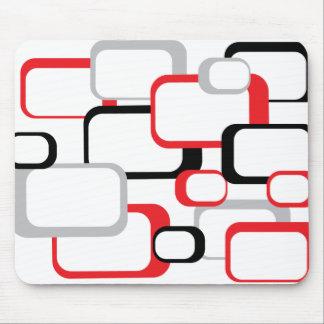 Mousepad branco quadrado retro preto e cinzento