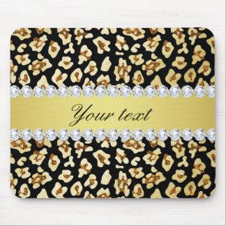 Mousepad Brilho do ouro do falso do leopardo e preto da