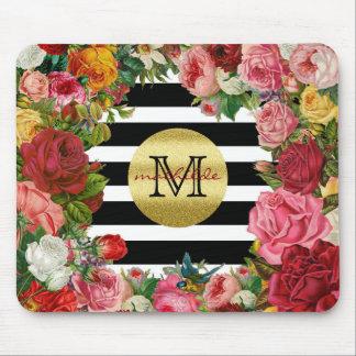 Mousepad Brilho na moda do ouro das flores dos rosas das