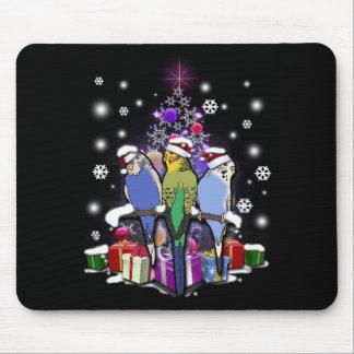 Mousepad Budgerigars com presente e flocos de neve do Natal