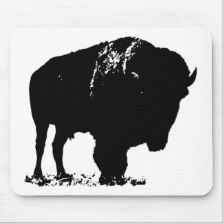 Mousepad Búfalo preto & branco do bisonte do pop art
