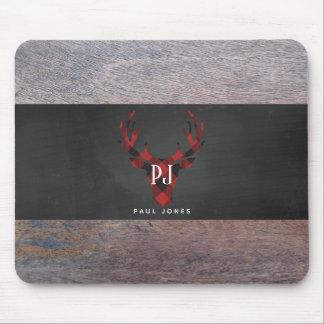 Mousepad Cabeça vermelha dos cervos do monograma da xadrez