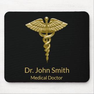 Mousepad Caduceus médico elegante do ouro no preto -