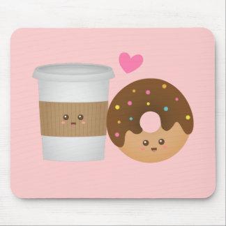 Mousepad Café bonito e rosquinha no amor, par perfeito