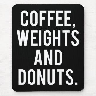 Mousepad Café, pesos e rosquinhas - Gym engraçado da