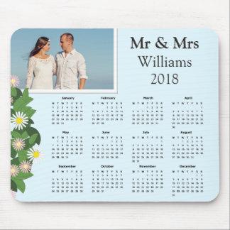 Mousepad Calendário 2018 moderno da foto | do casal da