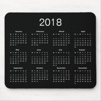Mousepad Calendário 2018 preto e branco simples clássico