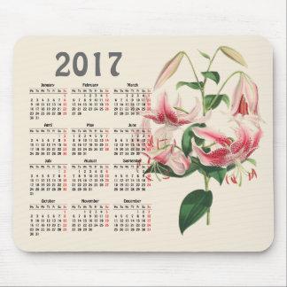 Mousepad calendário botânico do impressão 2017 do vintage
