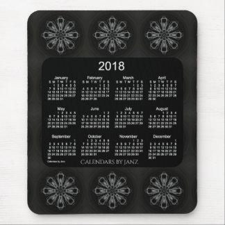 Mousepad Calendário branco de néon do floco de neve 2018