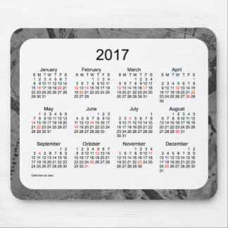 Mousepad Calendário do feriado da arte 2017 preta pelo