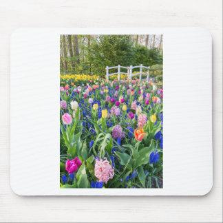 Mousepad Campo de flores com jacintos e ponte das tulipas