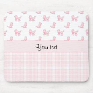 Mousepad Caniches & verificações cor-de-rosa do rosa