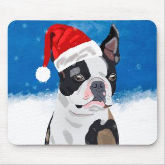 Mousepad Cão de Boston Terrier no feriado feliz do Natal da